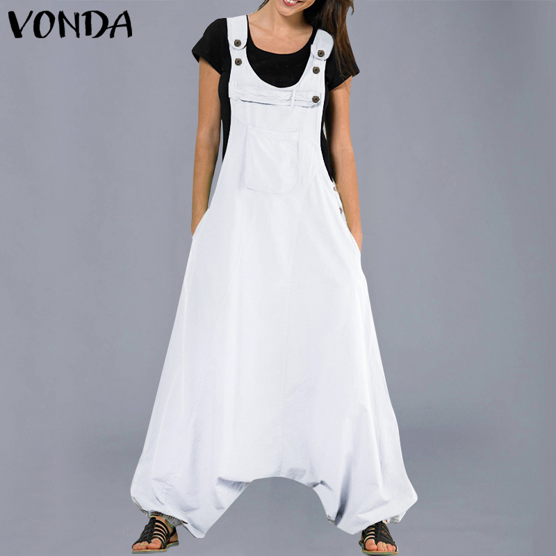VONDA Plus Size Jumpsuits Womens Rompers 2019 Summer Casual Cotton Harem Pants Vinatge Trousers Sexy Sleevelss Long Playsuits