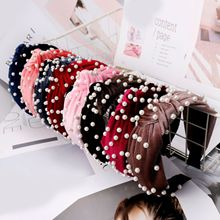 Pearl Headband knot Coral Fleece Knotted hair band for Women Fashion Korean Style Vintage Accessories Hairband