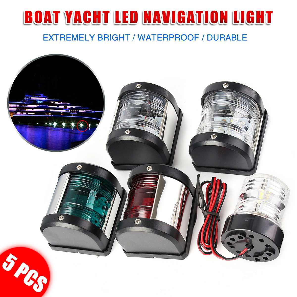 5Pcs 12V LED 360 Degree All Round Light Marine Boat Yacht Masthead/Stern/Starboard/Port Navigation Lights Waterproof Turn Lights
