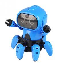 DIY 6 брюки с широкими штанинами Электрический радиоуправляемый Игрушечный Робот Инфракрасный распознавание жестов обходом препятствий игрушки для Детский подарок