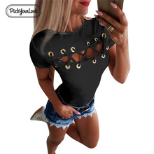 Pickyourlook Women Tops And Tshirts Hollow Out Sexy Ladies Tee Shirt Short Sleeve Round Neck Female Streetwear T-Shirt Camicette