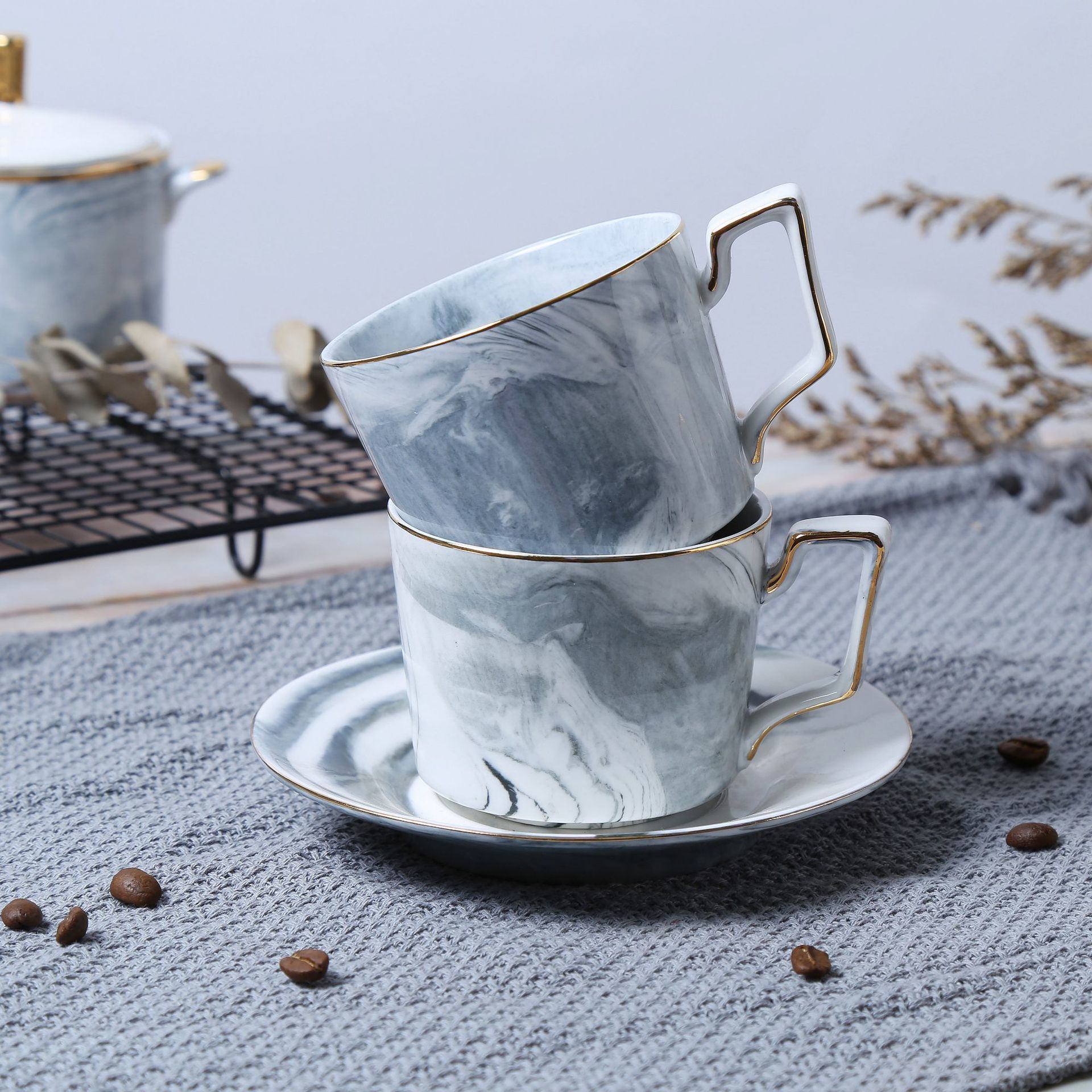 1 Комплект костяного фарфора набор посуды кружка костюм домашний с керамическим блюдцем набор чайник с цветами чашка фильтровальный чайник... - 4