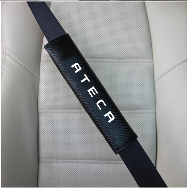 for Seat Ateca 2pcs PU Fashion Car Seat belt shoulder Pads Car Seat Belt Cover