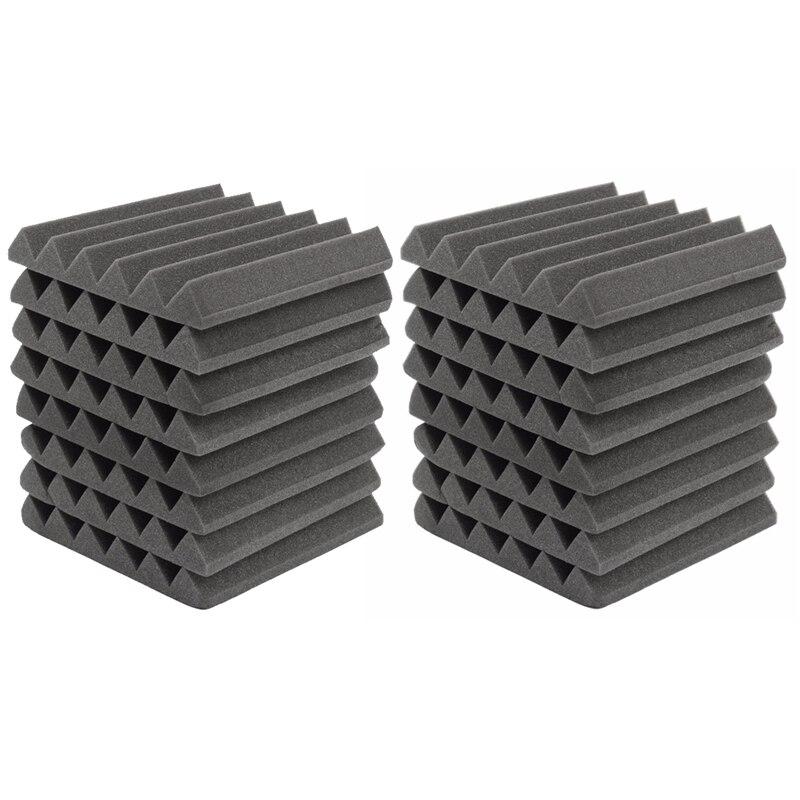 2x8Pcs 305 x 305 x 45mm Soundproofing Foam Acoustic Foam Sound Treatment Studio Room Absorption Wedge Tiles Polyurethane foam