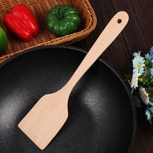 Упаковка из 2 деревянных лопаток, натуральная антипригарная длинная ручка, практичная кухонная утварь, плоская лопатка для приготовления пищи
