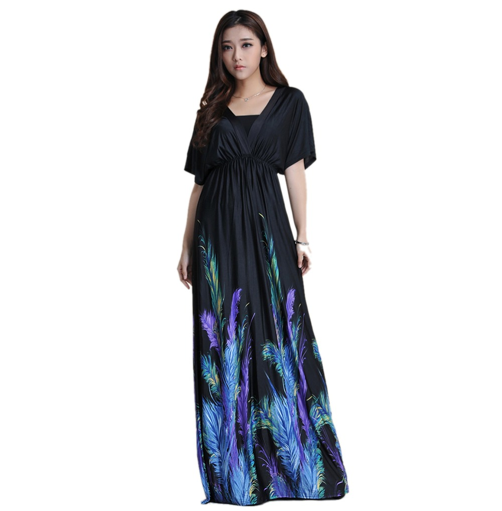 406775ff2e 2016 moda vestidos largos de verano de las mujeres de Boho Imprimir Las  plumas Manga Batwing cuello en V sexy Vestidos tallas grandes playa vestido  6XL más ...