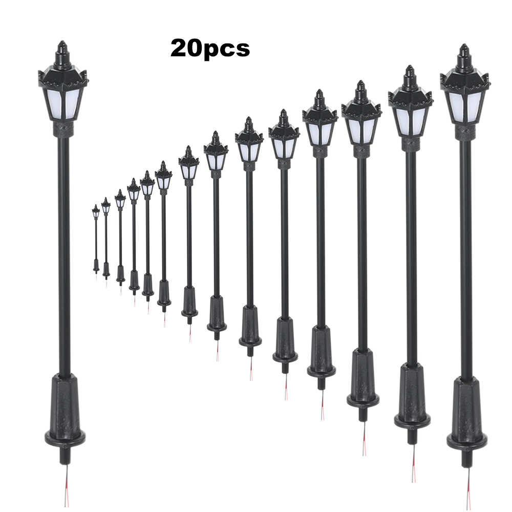 20 sztuk biały/ciepły biały Model światła uliczne układ latarni kolej pociąg do zabawy w ogrodzie dekoracje lampa Led oświetlenie 100 /70mm
