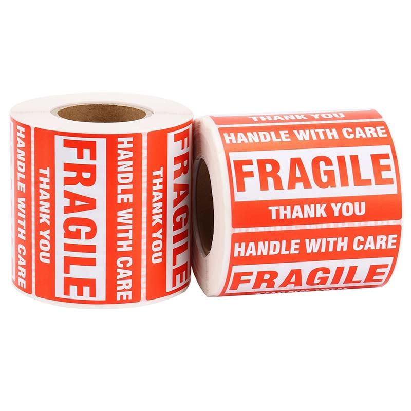 1 Roll/500Pcs Fragile Warning Sticker Handle With Care Keep Dry Express Label