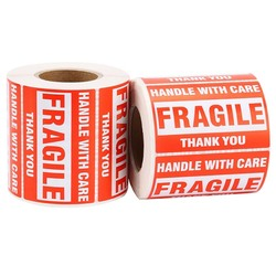 1 rolo/500 pces etiqueta de advertência frágil punho com cuidado manter a etiqueta expressa seca