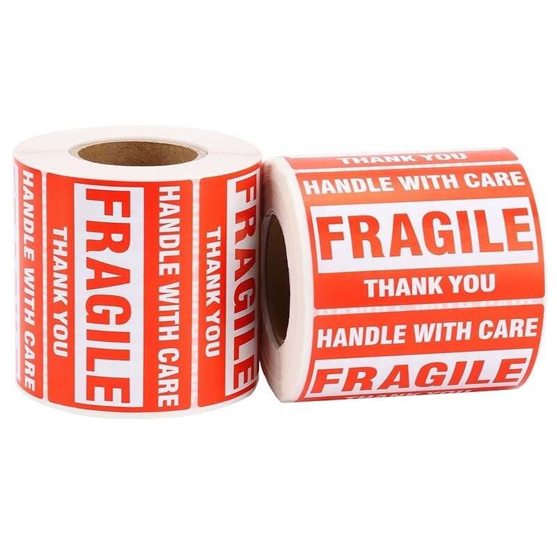 1 rouleau/500 pièces Fragile avertissement autocollant poignée avec soin garder sec étiquette Express