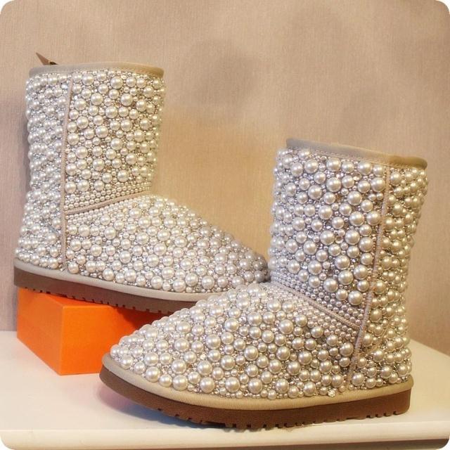 Confortable Neige Pour Chaussures Femmes Incrustation Genou Du Caoutchouc En Coton Main Faite Perle À Thermique Hauteur Printemps Bottes De xw7qwBpgP