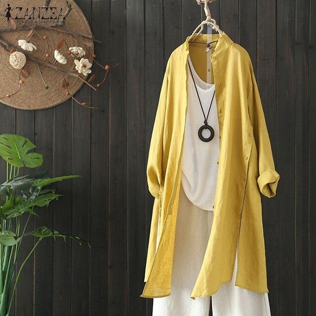 2019 Plus Size ZANZEA Spring Autumn Women Casual Lapel Long Sleeve Vintage Cotton Linen Loose Work OL Long Shirt Cardigan Blouse