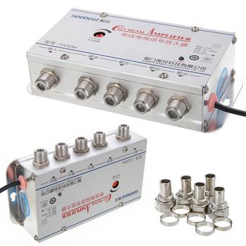 US Plug 4Way CATV VCR TV antena wzmacniacz sygnału wzmacniacz Splitter 20DB 45-860MHz 1 w 4 Out CATV wzmacniacz sygnału tanie i dobre opinie Pohiks 45-860 MHz Indoor catv amplifier