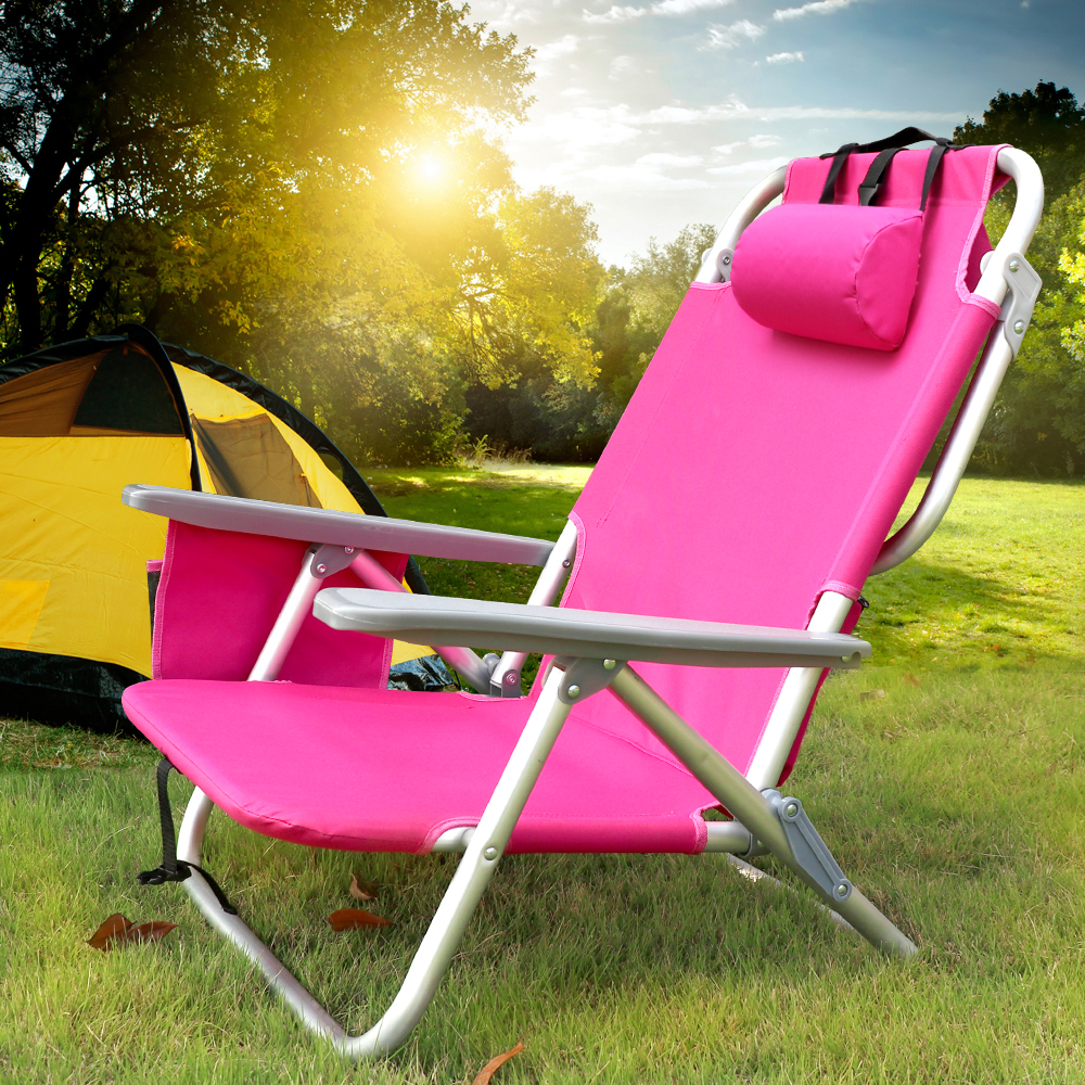 Folding Beach Chair Ultralight with Backrest Armchair Hiking Camping Picnic Foldable Chaise Outdoor Furniture Recline or Lay bluerise chaise lounge folding beach chair outdoor furniture three positions sun lounger recline or lay flat tanning massage