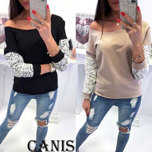 Lace T-Shirt Women Off The Shoulder Slim Fit Tees Ladies O-Neck Autumn Casual Elegant Tops T-Shirts Women Clothes