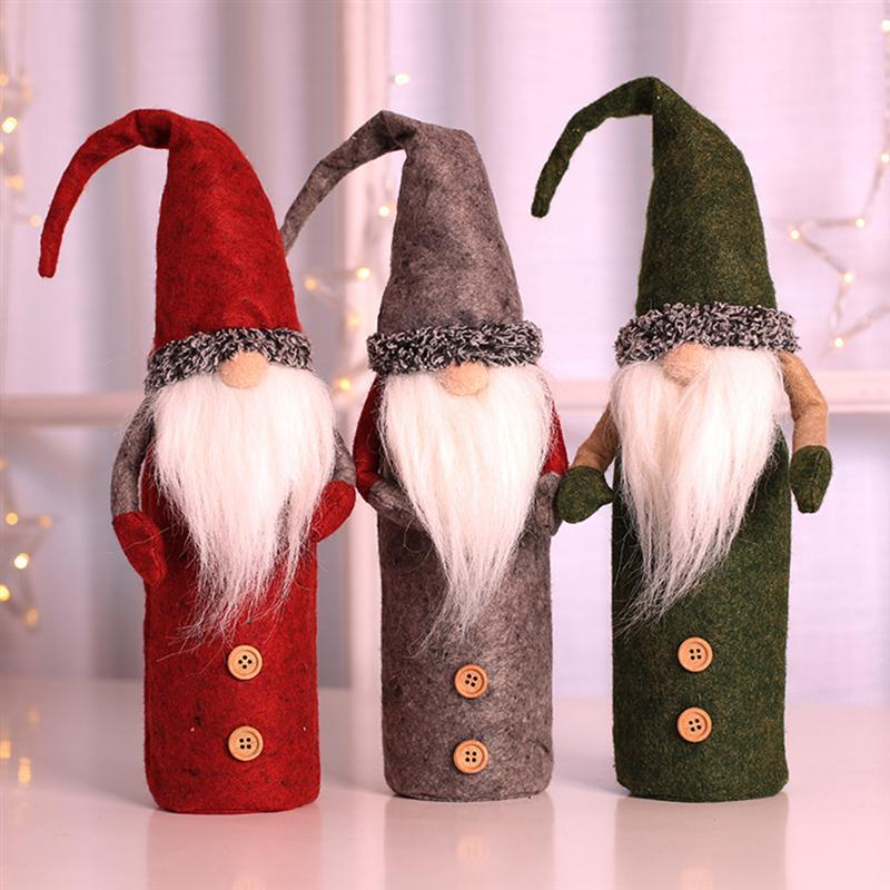1PC Xmas Eve Snowman Resuable Christmas Wine Bottle Protector Cover Bag For Christmas Decoration Storaging Wine