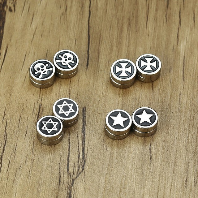 Mens Stud Earring 10 mm Stainless Steel Skull Star of David Iron Cross Circle Magnetic Earrings.jpg 640x640 - Mens Stud Earring 10 mm Stainless Steel Skull Star of David Iron Cross Circle Magnetic Earrings Stud No Piercing faux plugs