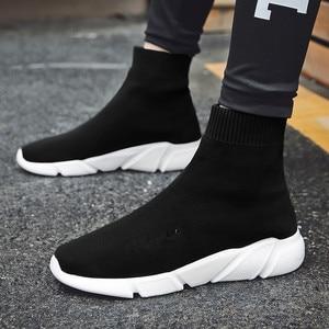 Image 3 - לנשימה גברים נעליים יומיומיות אור סניקרס גברים גרב נעלי זכר גבוה למעלה סניקרס אופנה להחליק על גברים מאמני Chaussure Homme