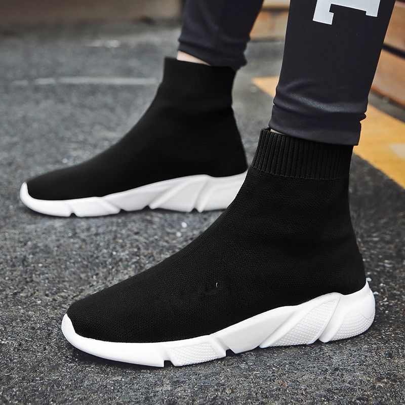 Image 3 - Breathable Men Casual Shoes Light Sneakers Men Sock Shoes Male High Top Sneakers Fashion Slip on Men Trainers Chaussure Homme-in Men's Casual Shoes from Shoes