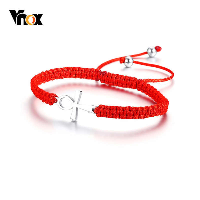 Vnox Ankh Cross Red String Cord Kabbalah Bracelets for Women Success Protection and Lucky Link Chain Bracelet Size Adjustable