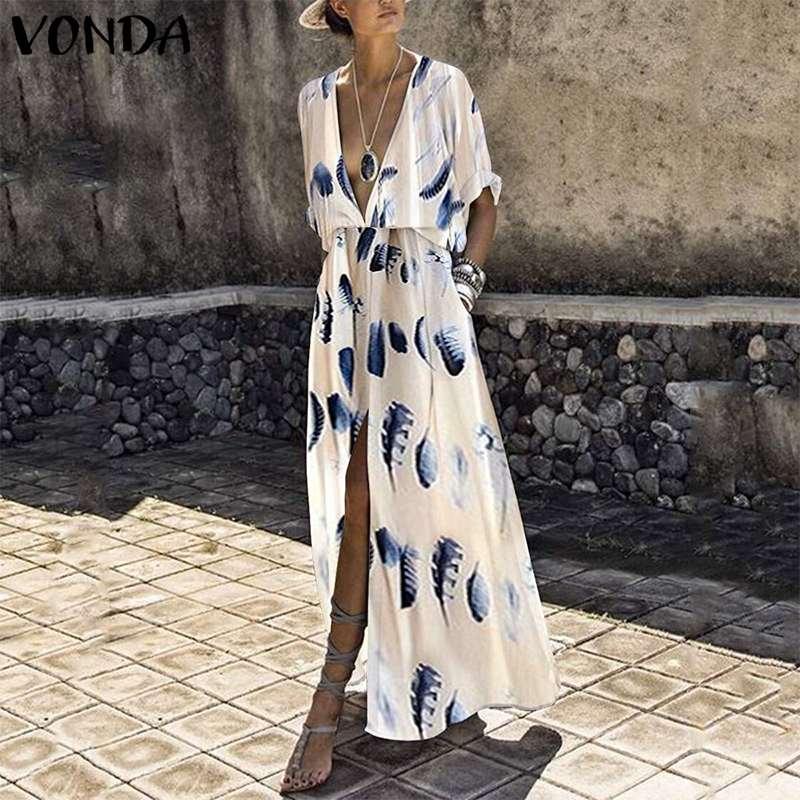 Богемный Для женщин платье с принтом 2019 г. летние пикантные с v-образным вырезом раздельное максимальной длины пляжное свободное платье сар...