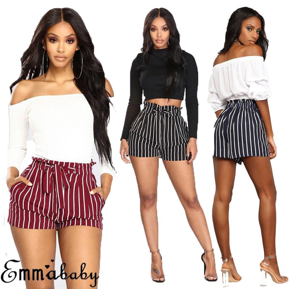 Hirigin Brand Women Shorts Summer Sexy Hot Shorts High Waist Tie Belt Shorts Striped Casual Beach High Waist Mini Shorts