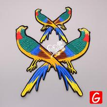 GUGUTREE embroidery big magpie patches bird badges applique for clothing DX-119