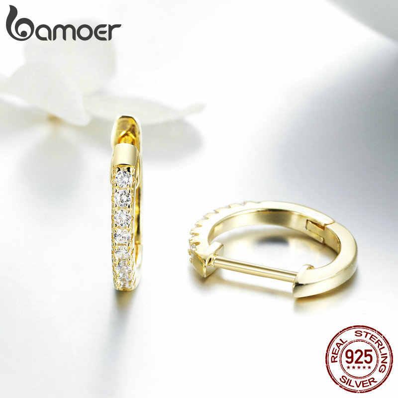 Brincos de prata refinada 925 genuína bamoer, joia redonda circular para mulheres, brincos de cor dourada, presente para joias de prata esterlina sce498