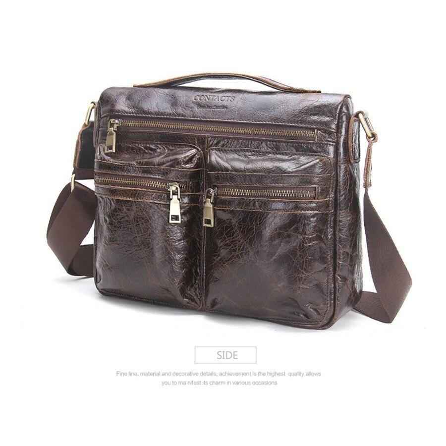 Sac de porte-documents pour hommes épaule unique affaires sacs décontractés bandoulière en cuir véritable marque homme sacoche homme
