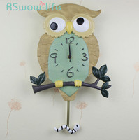 Creative Resin Wall Clock Owl Shape Bedroom Mute Wall Watch Living Room Fashion Swing Clocks Saat Wall Home Decor Modern Decor