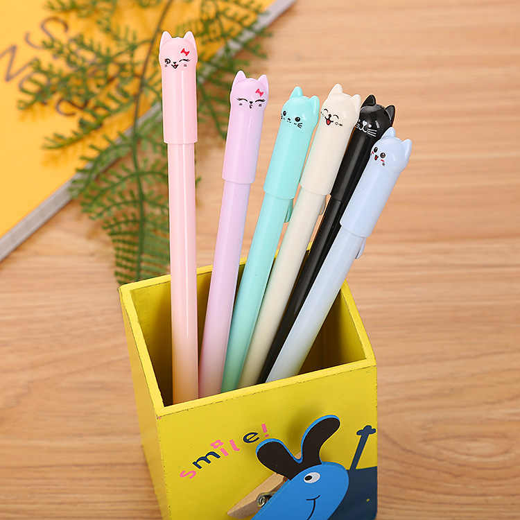 Creative Stationery Cap Cat Cartoon Gel Pen Cute Tail Cat Learning Office Water Pen Manufacturer Direct