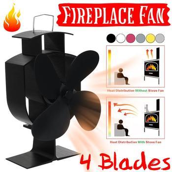 Multi-color 4 Blade Warmte Aangedreven Kachel Fan Log Hout Brander Eco Vriendelijke Rustig Thuis Haard Ventilator Warmte Distributie brandstofbesparing