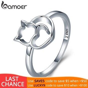 ca03e6d0bef6 BAMOER auténtico 100% de Plata de Ley 925 travieso gato corazón anillo de  dedo para las mujeres joyería de plata esterlina
