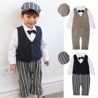infant kid Baby newborn Boys Outfits Set 3pcs Long Sleeve Gentleman Tuxedo Vest Coat Berets Hat clothes party birthday