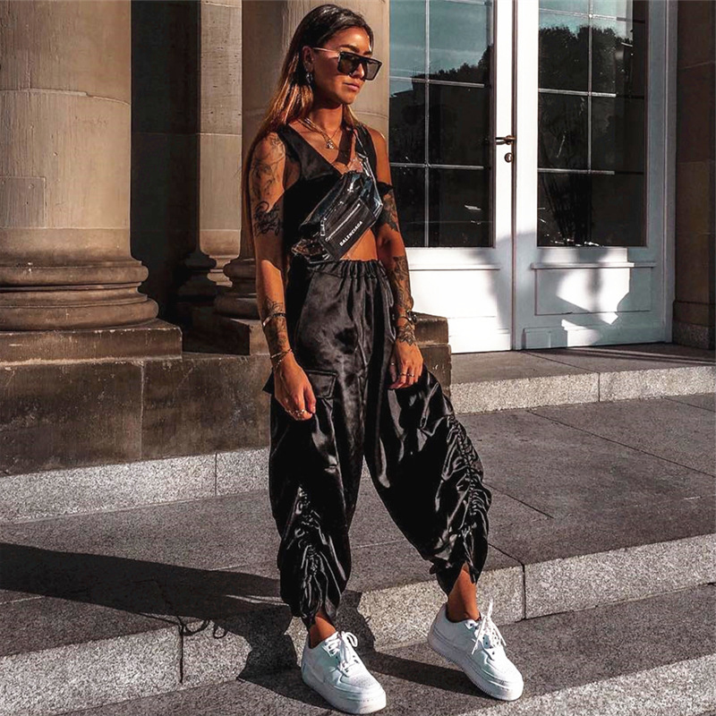 High Waist Wide Leg   Pants     Capri   Women Trendy Hipster Trousers Harajuku Streetwear Culottes Palazzo Baggy Flare Bottoms Female
