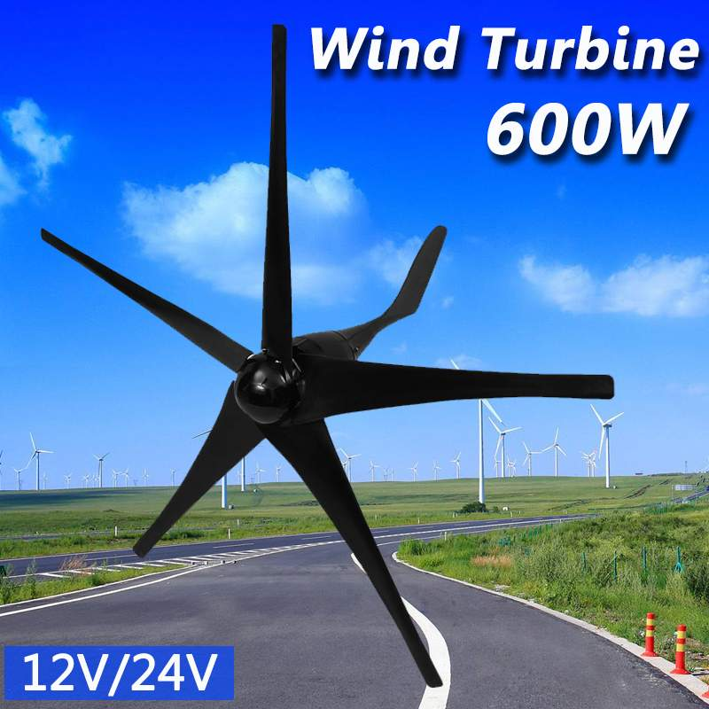 600W 12 V 24 Volt 5 Nylon Fiber Blades Horizontal Wind Turbines Generator Power Windmill Energy Charger Kit Home Black Tool600W 12 V 24 Volt 5 Nylon Fiber Blades Horizontal Wind Turbines Generator Power Windmill Energy Charger Kit Home Black Tool