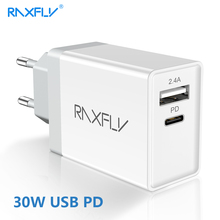 RAXFLY 18W Type C PD Phone Charger For iPhone XS Max XR 8 Plus Dual Ports Travel Fast USB Samsung S8  S9 Note 9