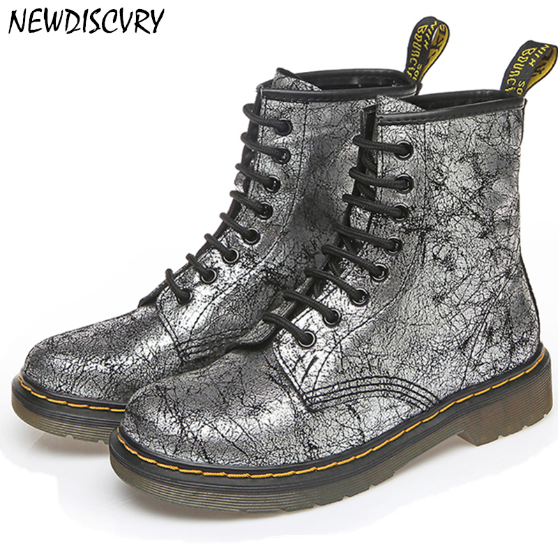NEWDISCVRY Bling Women s Martin Boots Genuine Leather 2018 Fashion 8 Hole Ankle Boots For Women