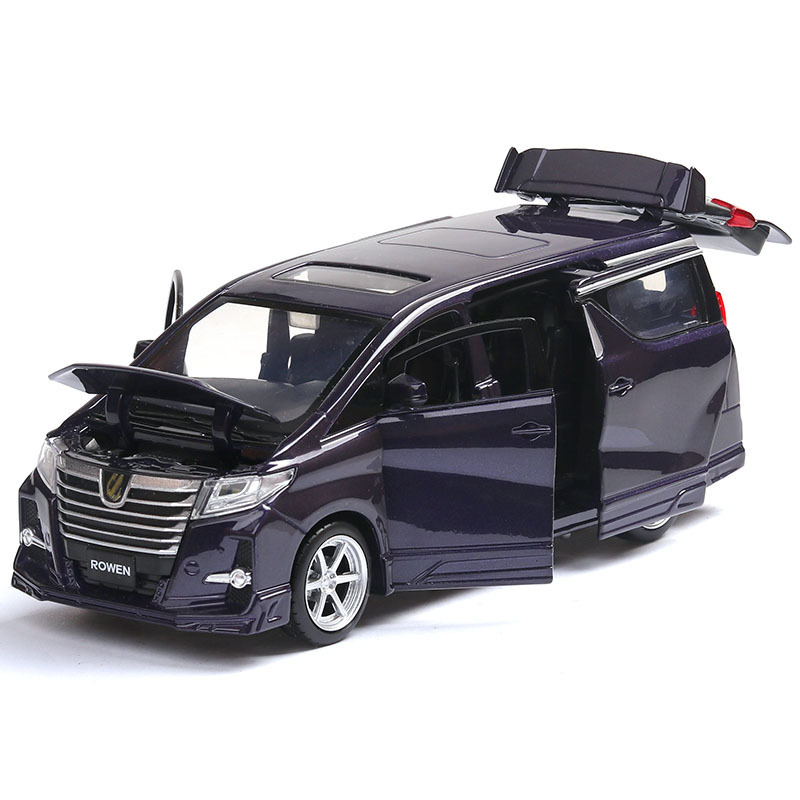 Toyota Elfa Car Model Toy Simulation Nanny Car Black Toy Car With Light Pull Back Function Modified Car 6 Doors Can Be OpenedToyota Elfa Car Model Toy Simulation Nanny Car Black Toy Car With Light Pull Back Function Modified Car 6 Doors Can Be Opened