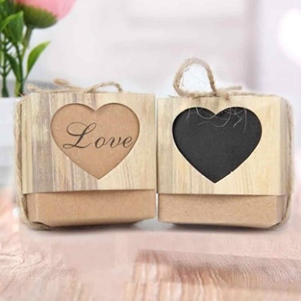 DIY Gift Boxes Hemp Case Candy Mini Storage Organizer Beautiful Heart Valentine's Day Gift Bags Kids Girls Boys Friend gifts