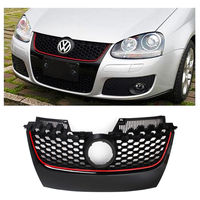 Car Red Strip Front Center Grille Bumper Grill Black with Red Trim For VW Jetta GTI GLI MK5 2006 2007 2008 2009
