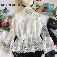 Spring Runway Tops 2019 Sexy Flare Sleeve White/Black Hollow Out Lace Blouses Womens