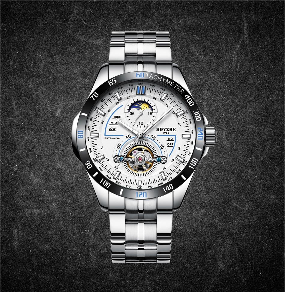 BOYZHE hommes automatique mécanique haut tendance marque montres de sport Tourbillon Phase de lune montre en acier inoxydable Relogio Masculino - 4