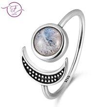 Original design moon shape adjustable open ring natural moonstone female top fashion 925 silver jewelry wedding wholesale