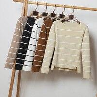 7 цветов женские трикотажные пуловеры 2019 Весна Slash шеи полоса тонкий свитер с длинным рукавом Повседневный пуловер Топы серый, хаки