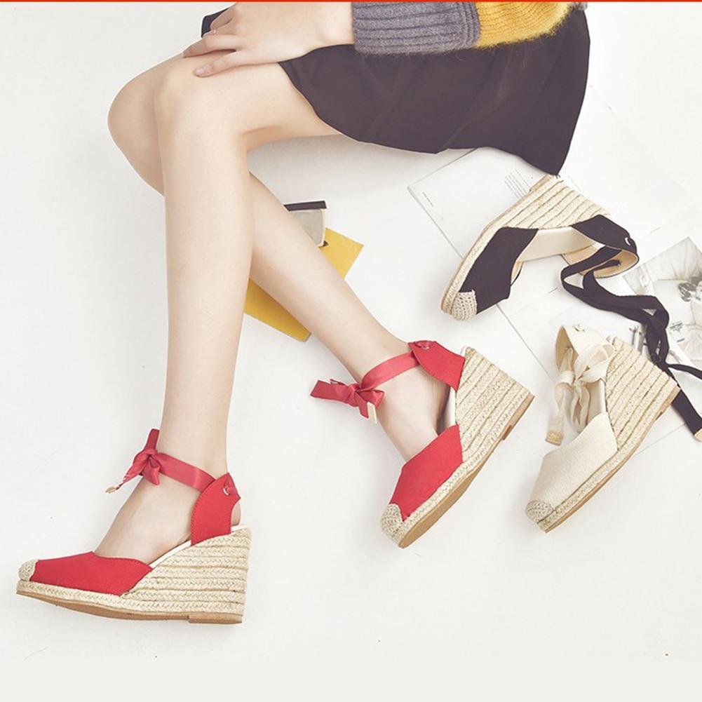 43 Cuña Nuevo Transpirable Zapatos 35 Lazo Correa Paja Informales 2019 Cómodo De Calzado Mujer Verano Sandalias Más Tamaño Tobillo Yybf6g7