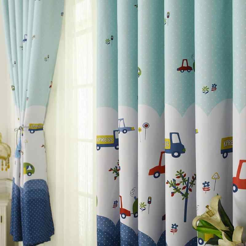 2pcs Topfinel Lovely Cartoon Car Curtains for Living Children Room Bedroom Curtains Decorative Curtains for Kids Baby Room