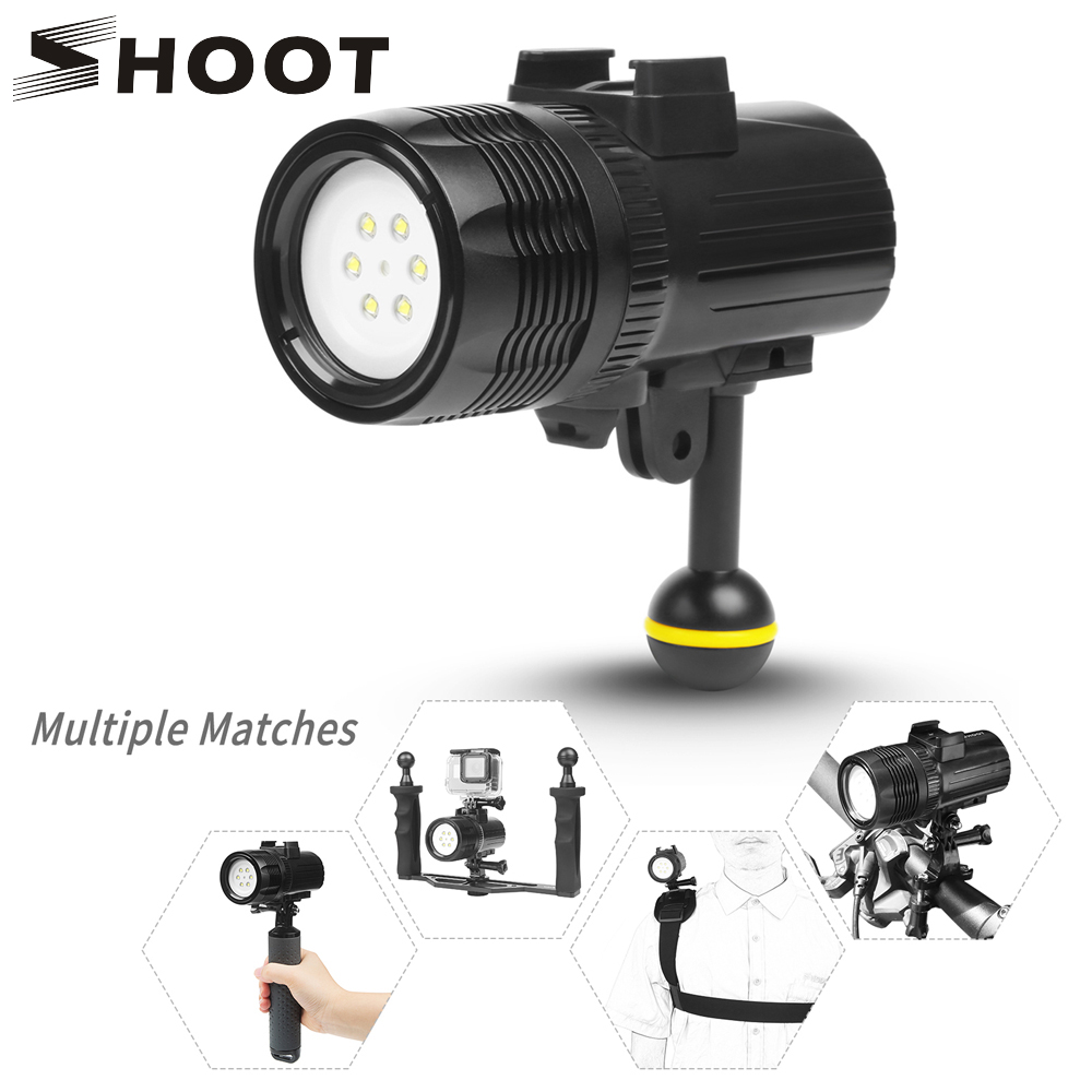 SHOOT 1000LM Waterproof Underwater Diving Torch Flashlight Outdoor LED Video Light for GoPro Hero 7 6 5 Xiao yi 4k sjcam Camera