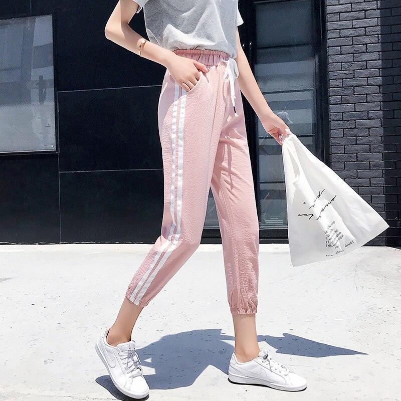 Women Pants Casual Sports Jogging Bottoms Side Stripe Drawstring Sweat Trousers Women Loose Elastic Waist Sportswear Pants 2