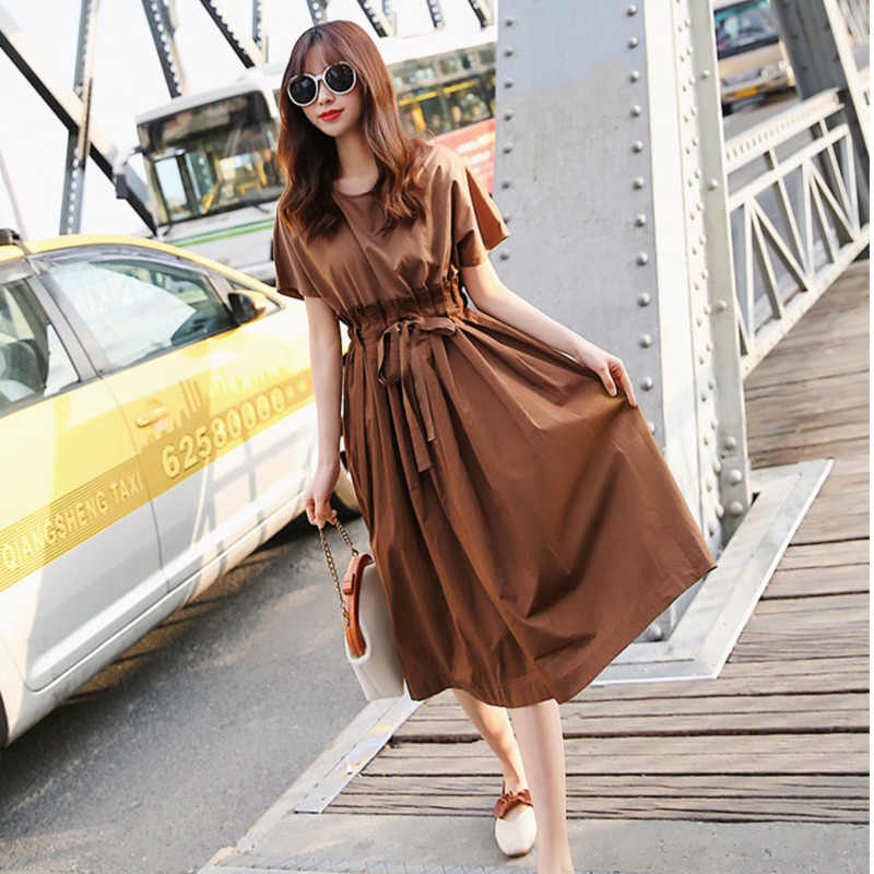 LANMREM 2019 новый летний модный шнурок талии одежда Повседневный плиссированный короткий рукав Сращивание o-образным вырезом Платье женское Vestido ZA518
